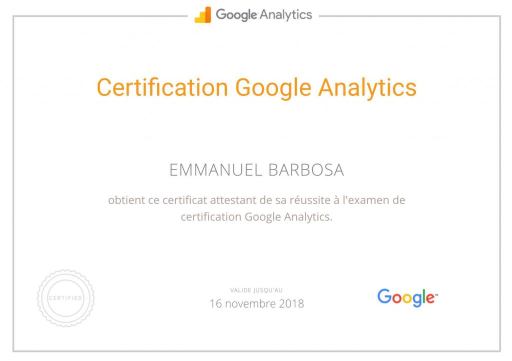 Certification Google Analytics